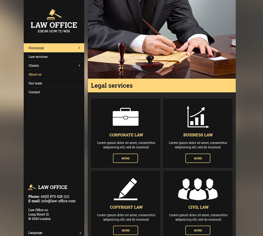 Černo-béžová responzivní webová šablona Inspire pro advokátní kancelář
