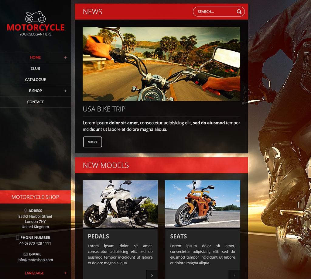 Černo-červená responzivní webová šablona Nevia s motorkami