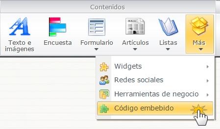 Insertar widget en configuración avanzada