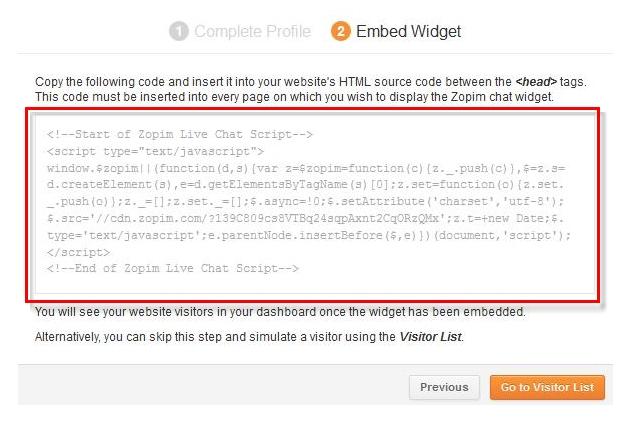 Widget Zopim Code