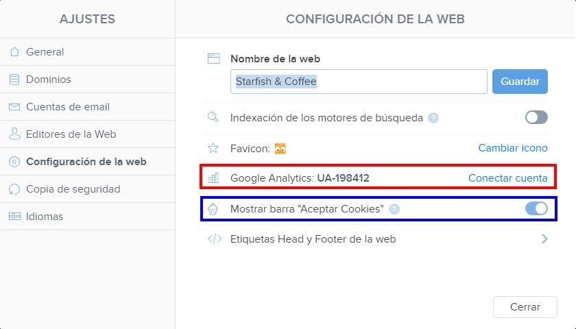 Configuración de la web - Google Analytics y Barra de Cookies