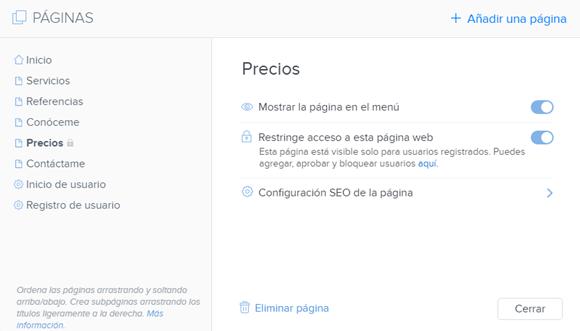 Restringir acceso a una página